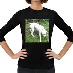 Boxer White Puppy Full Women s Long Sleeve Dark T-Shirts