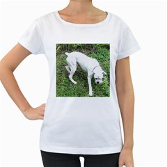 Boxer White Puppy Full Women s Loose-Fit T-Shirt (White)