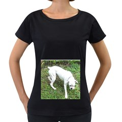 Boxer White Puppy Full Women s Loose-Fit T-Shirt (Black)