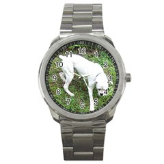 Boxer White Puppy Full Sport Metal Watch