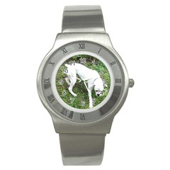 Boxer White Puppy Full Stainless Steel Watch