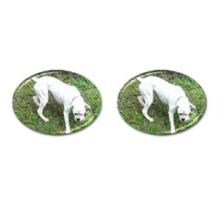 Boxer White Puppy Full Cufflinks (Oval)