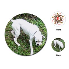 Boxer White Puppy Full Playing Cards (Round)