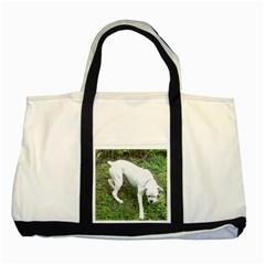 Boxer White Puppy Full Two Tone Tote Bag