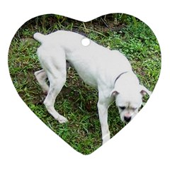 Boxer White Puppy Full Heart Ornament (2 Sides)