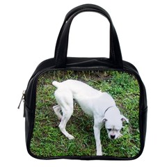 Boxer White Puppy Full Classic Handbags (One Side)
