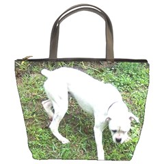 Boxer White Puppy Full Bucket Bags