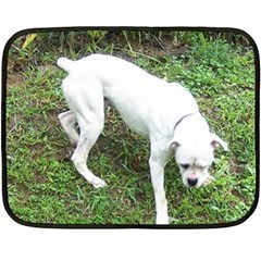 Boxer White Puppy Full Double Sided Fleece Blanket (Mini)