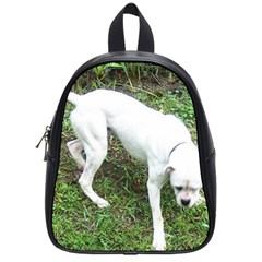 Boxer White Puppy Full School Bags (Small)