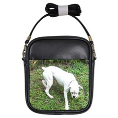 Boxer White Puppy Full Girls Sling Bags