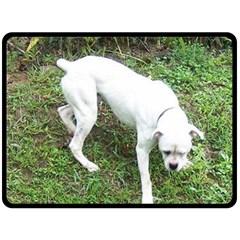 Boxer White Puppy Full Fleece Blanket (Large)