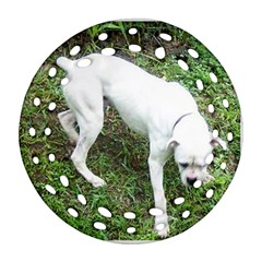 Boxer White Puppy Full Round Filigree Ornament (2Side)