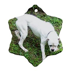 Boxer White Puppy Full Snowflake Ornament (2-Side)