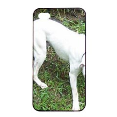 Boxer White Puppy Full Apple iPhone 4/4s Seamless Case (Black)