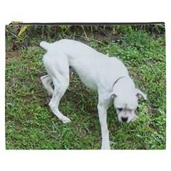 Boxer White Puppy Full Cosmetic Bag (XXXL)