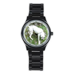 Boxer White Puppy Full Stainless Steel Round Watch