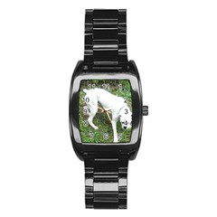 Boxer White Puppy Full Stainless Steel Barrel Watch