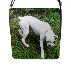 Boxer White Puppy Full Flap Messenger Bag (L)
