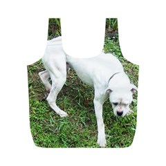 Boxer White Puppy Full Full Print Recycle Bags (M)