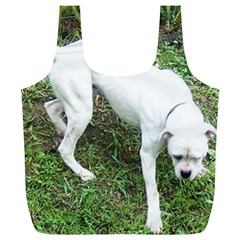 Boxer White Puppy Full Full Print Recycle Bags (L)