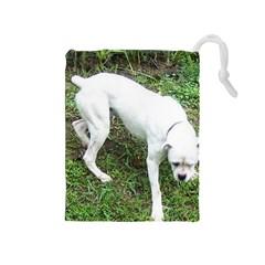Boxer White Puppy Full Drawstring Pouches (Medium)