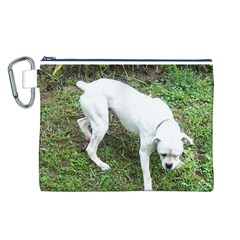 Boxer White Puppy Full Canvas Cosmetic Bag (L)