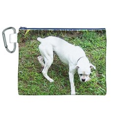 Boxer White Puppy Full Canvas Cosmetic Bag (XL)
