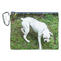 Boxer White Puppy Full Canvas Cosmetic Bag (XXL)