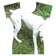 Boxer White Puppy Full Women s Cap Sleeve Top