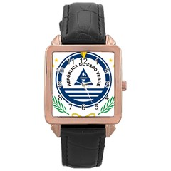 National Emblem of Cape Verde Rose Gold Leather Watch