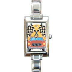 Automobile Car Checkered Drive Rectangle Italian Charm Watch