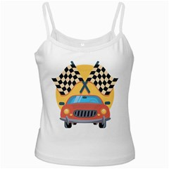 Automobile Car Checkered Drive White Spaghetti Tank