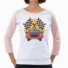 Automobile Car Checkered Drive Girly Raglans
