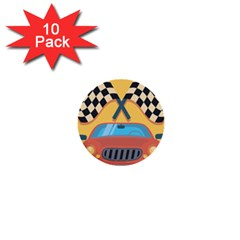 Automobile Car Checkered Drive 1  Mini Buttons (10 pack)