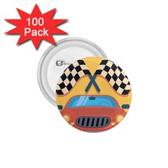 Automobile Car Checkered Drive 1.75  Buttons (100 pack)
