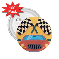Automobile Car Checkered Drive 2.25  Buttons (100 pack)