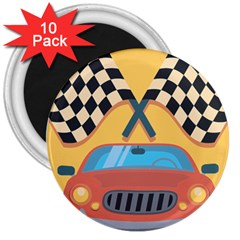 Automobile Car Checkered Drive 3  Magnets (10 pack)