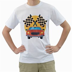 Automobile Car Checkered Drive Men s T-Shirt (White) (Two Sided)