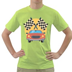 Automobile Car Checkered Drive Green T-Shirt
