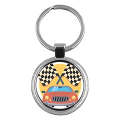 Automobile Car Checkered Drive Key Chains (Round)