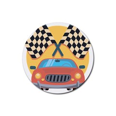 Automobile Car Checkered Drive Rubber Round Coaster (4 pack)