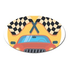 Automobile Car Checkered Drive Oval Magnet
