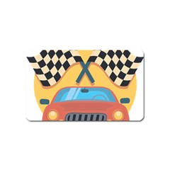 Automobile Car Checkered Drive Magnet (Name Card)