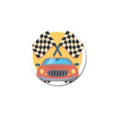 Automobile Car Checkered Drive Golf Ball Marker (4 pack)