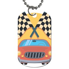 Automobile Car Checkered Drive Dog Tag (Two Sides)