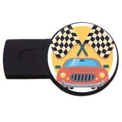 Automobile Car Checkered Drive USB Flash Drive Round (2 GB)