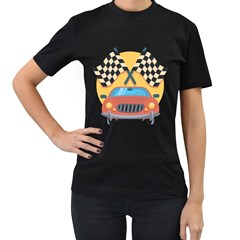 Automobile Car Checkered Drive Women s T-Shirt (Black) (Two Sided)