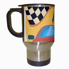 Automobile Car Checkered Drive Travel Mugs (White)