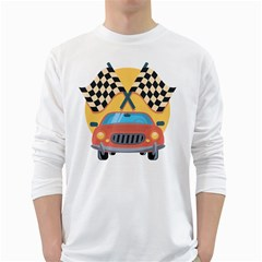 Automobile Car Checkered Drive White Long Sleeve T-Shirts