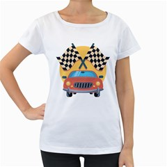 Automobile Car Checkered Drive Women s Loose-Fit T-Shirt (White)